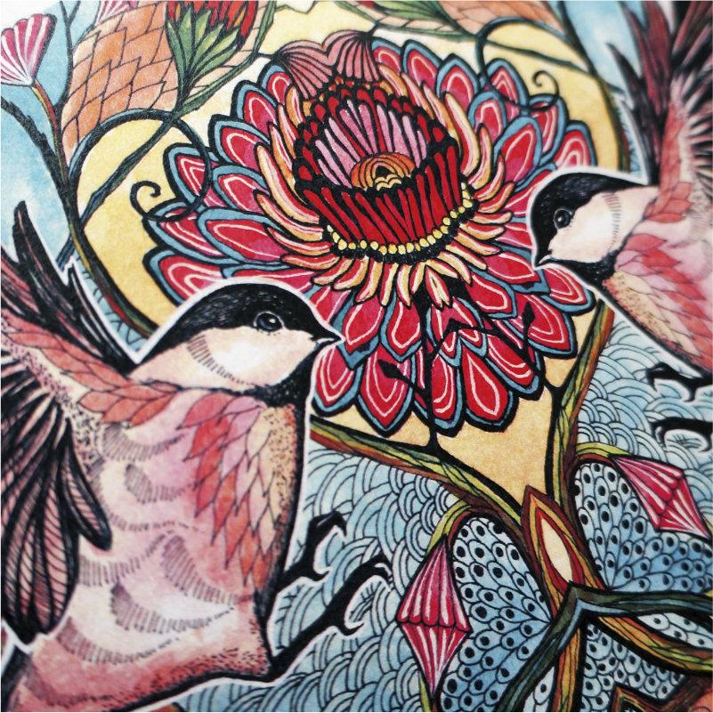 Chickadee love art print closeup
