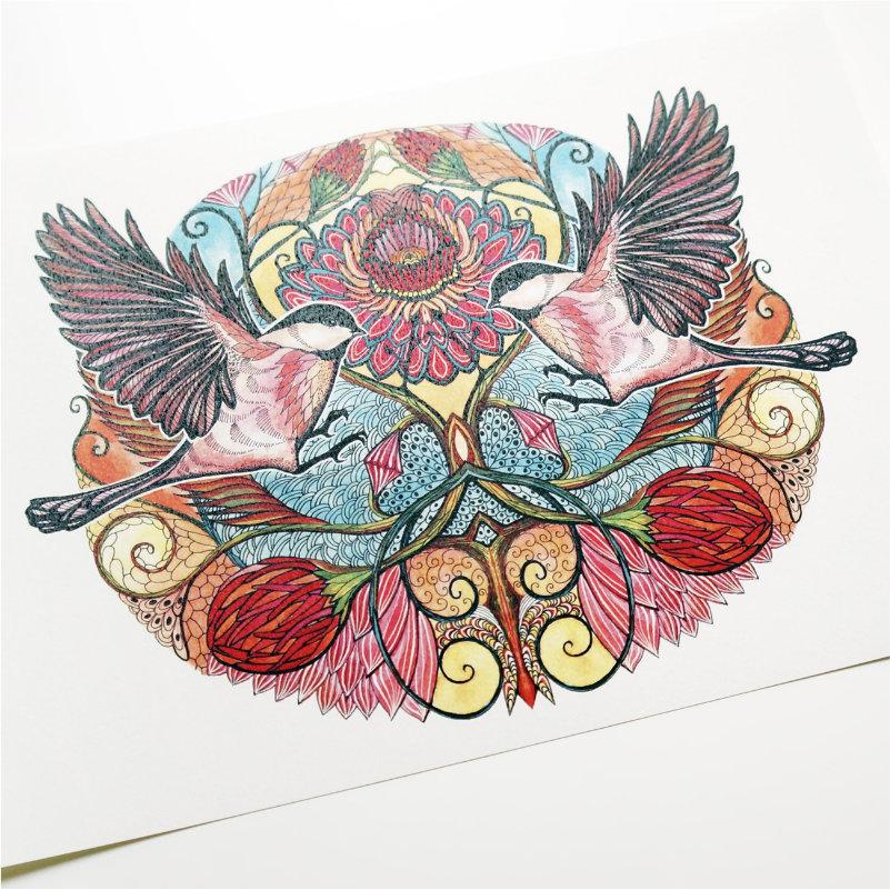 Chickadee love art print quality