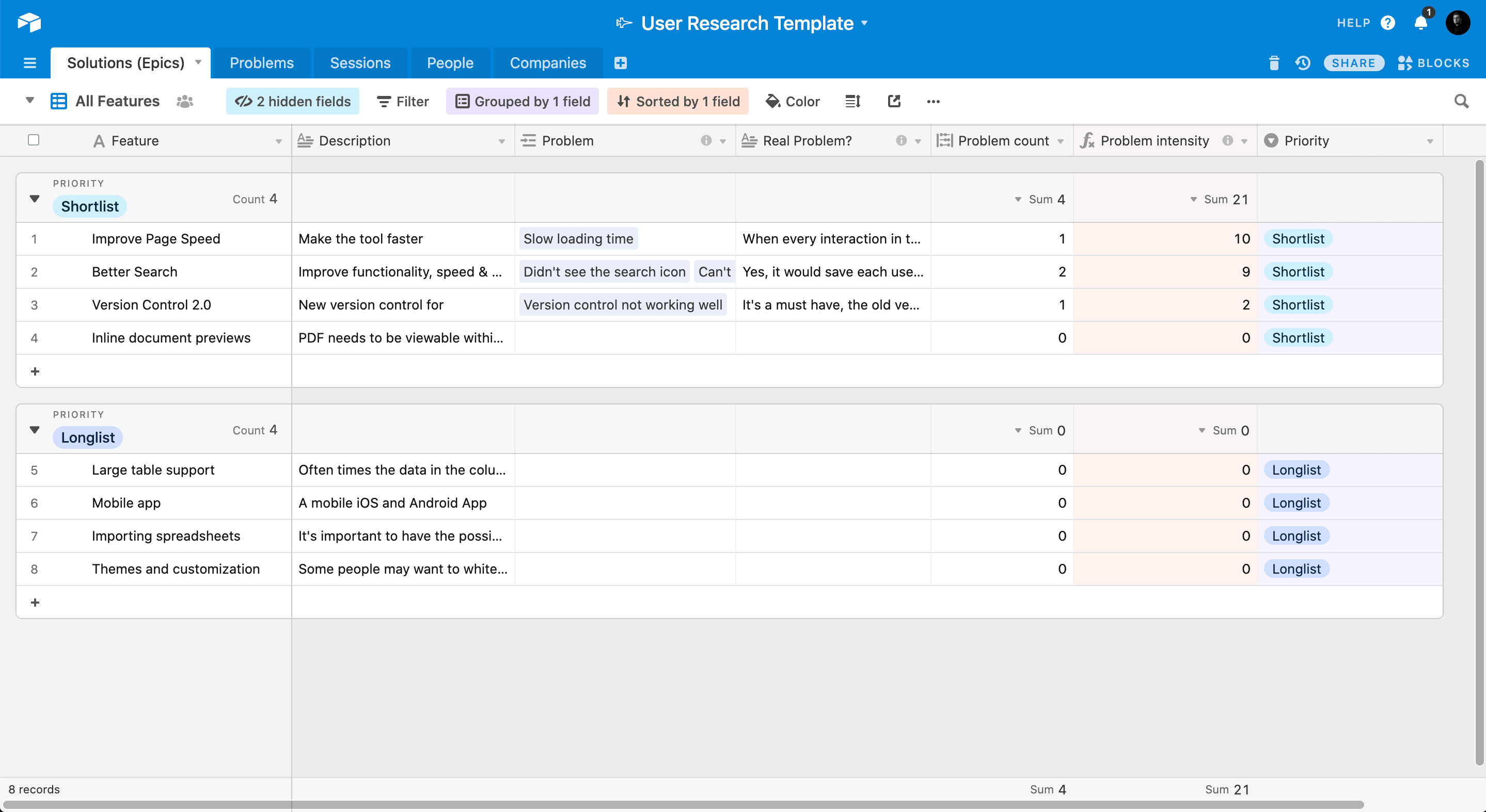 You can find and copy the template here: https://airtable.com/universe/expUOZxToUDGgtOTd/user-research-process