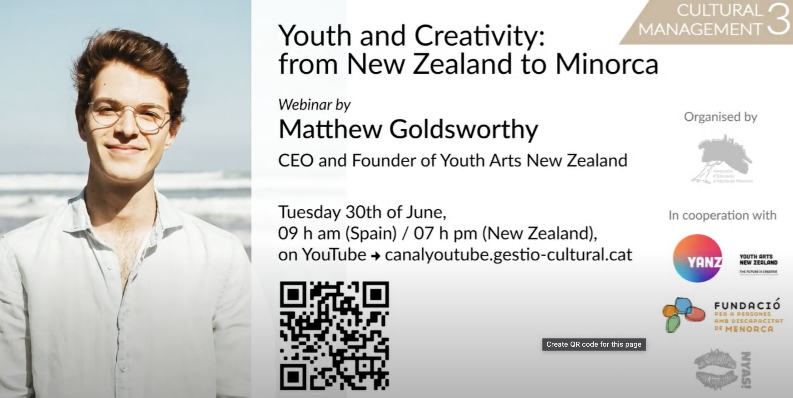 Youth and Creativity: from New Zealand to Minorca