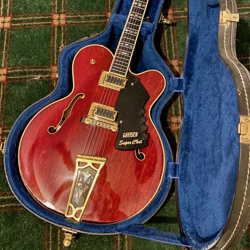 Gretsch Super Chet, model 7690 guitar. Original finish and accessories. Plays great. Model number 7690, Serial number 1-6148. Manufactured in January of 1976, with a unit number of 148. Listing starts at $5,000. Email an offer you would like us to consider.