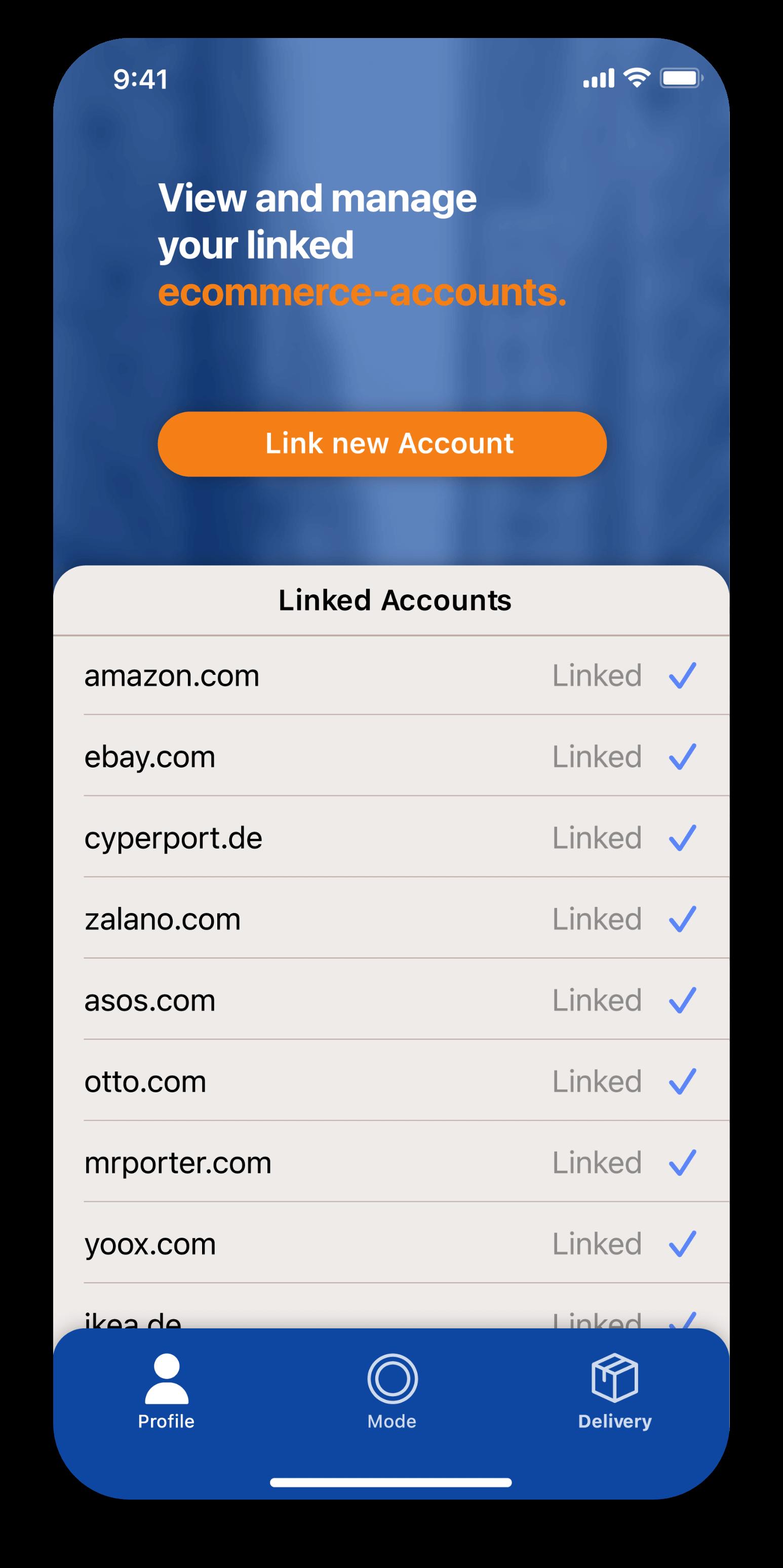 App-Screen Verknüpfung der E-Commerce-Konten.