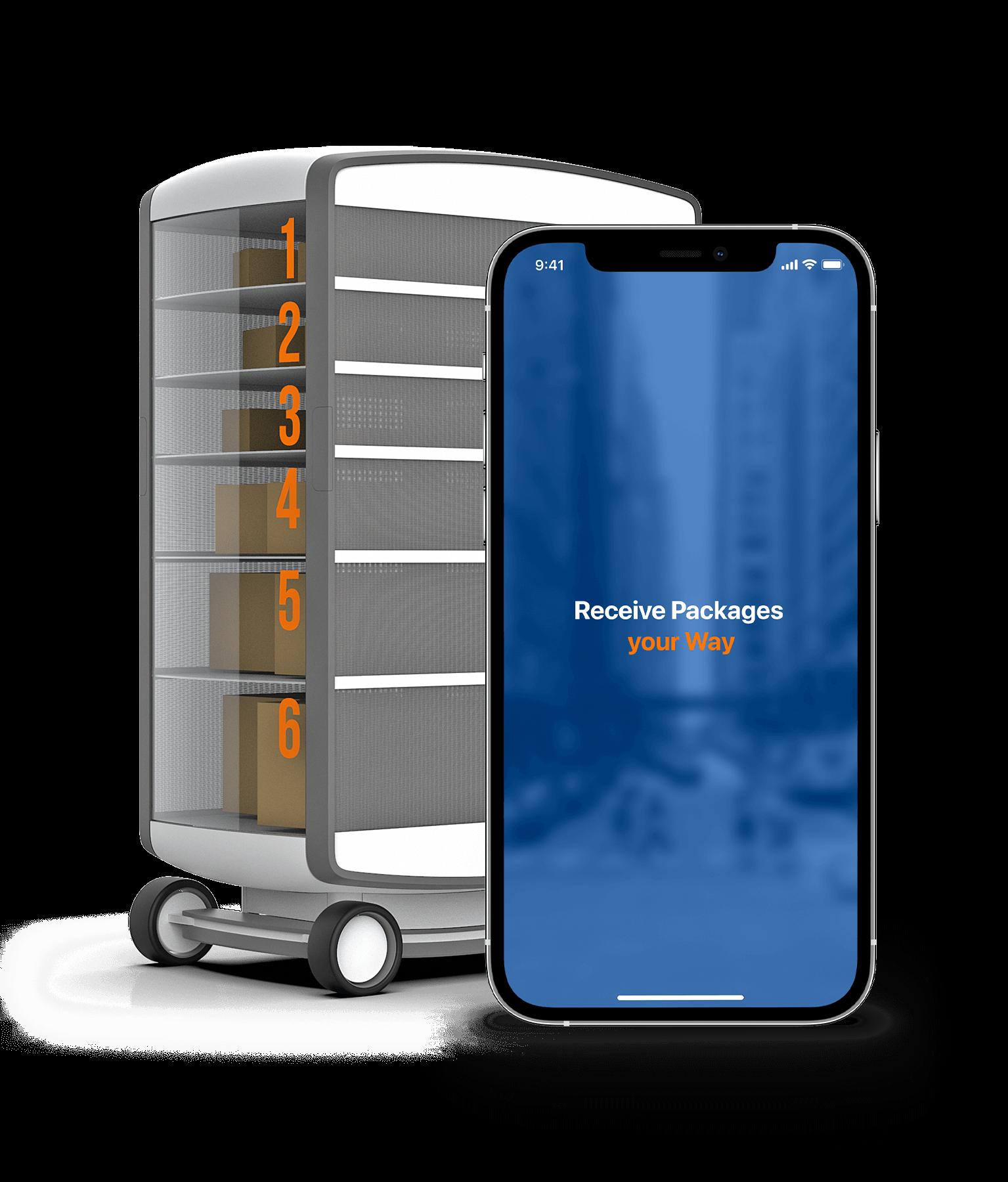 Pop-Up Hub zur Paketentnahme mit App.