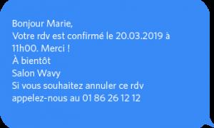 SMS de confirmation de rappel de RDV