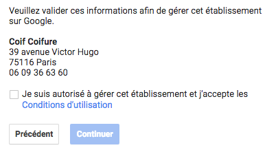 Validation de la fiche GMB 1