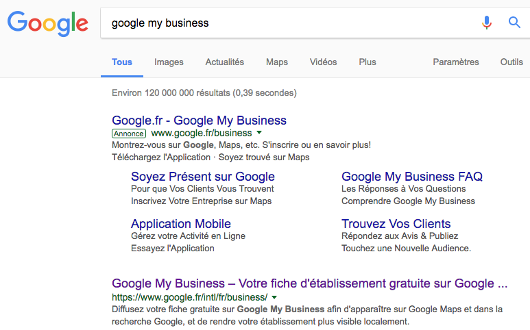 Google My Business dans Google