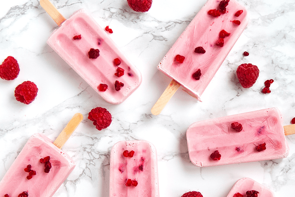 Keto Raspberry Ice Cream Popsicles