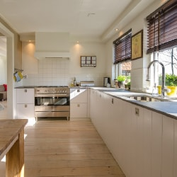 a newly renovated kitchen in a house