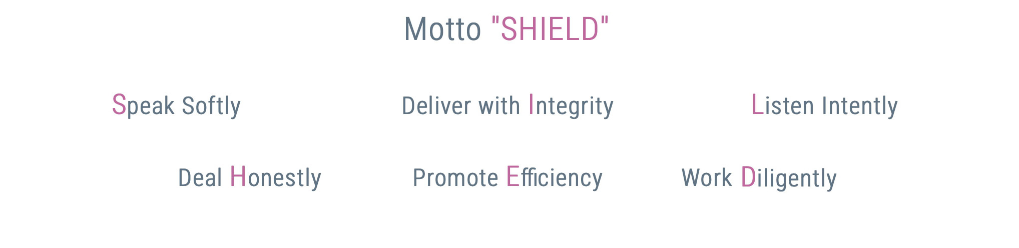 Our Motto SHIELD Contains our Values