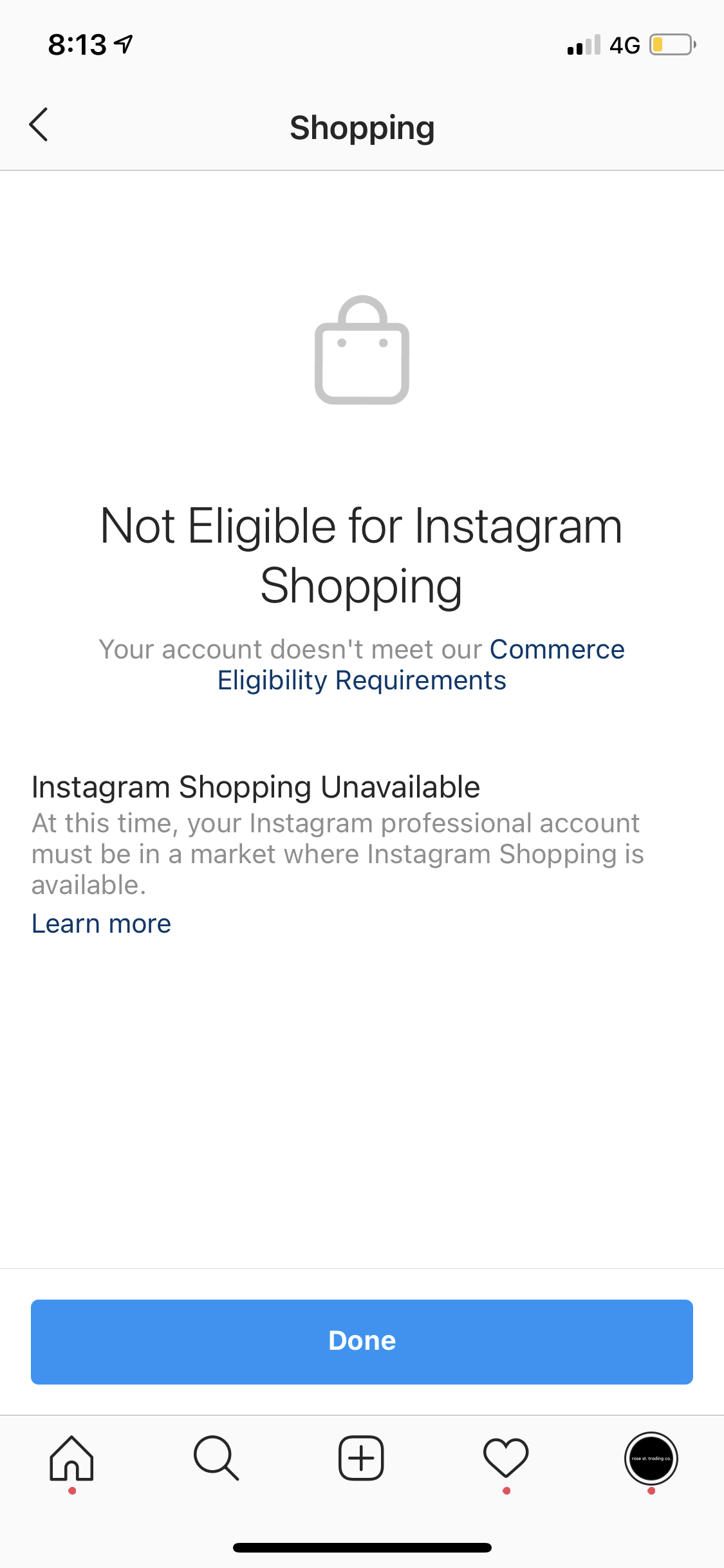 In Australia and got the dreaded 'not eligible for Instagram shopping' error?