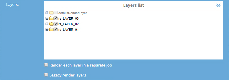 Additional settings for jobs prepared using Maya software