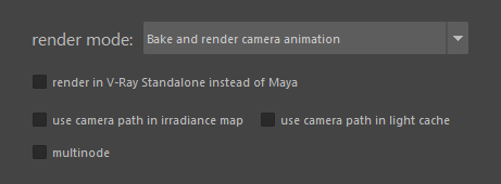 "Settings for ""Bake and render camera animation"" mode"