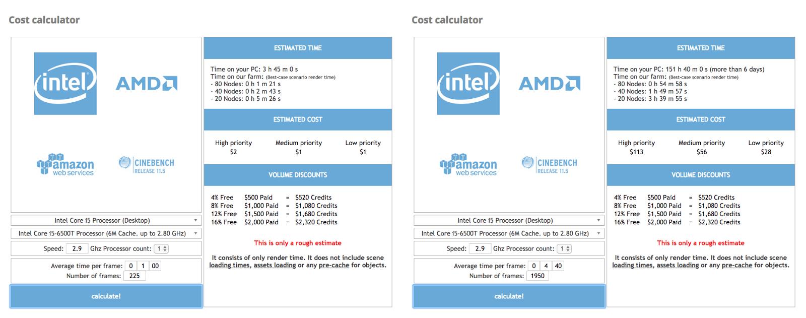GarageFarm.NET Render Farm Cost Calculator