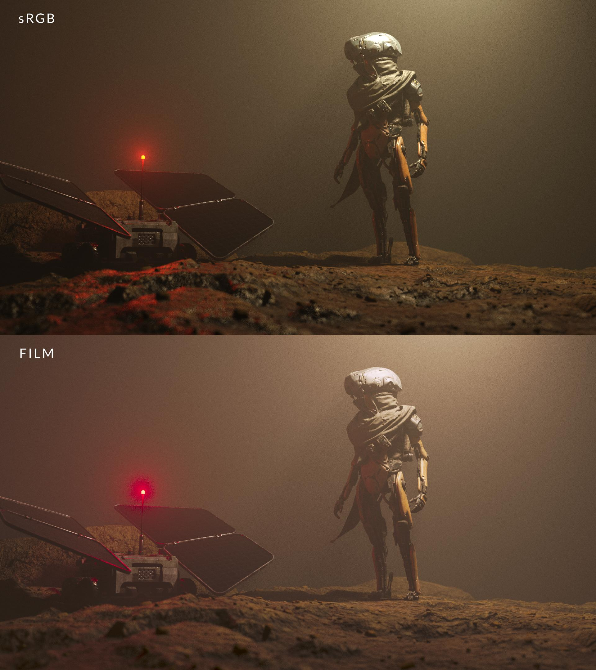 render on a monitor compared to viewing it on film
