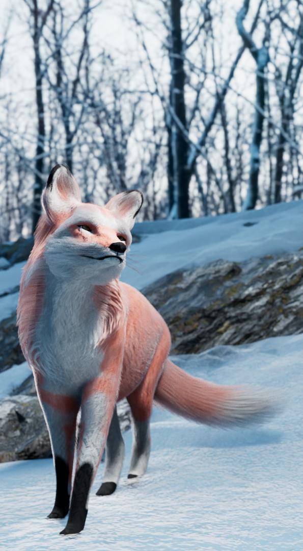 Figure 3 model, model + textures and shader, rendered model + fur