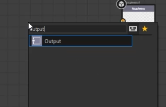"""click on the """"output"""" node"""