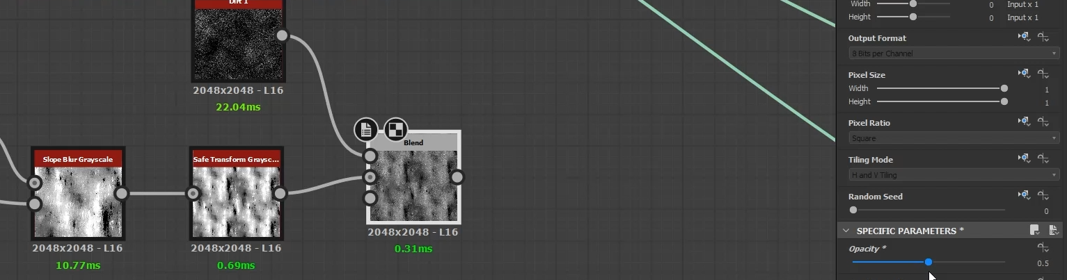 dirt 1 node and set the opacity to 0.5