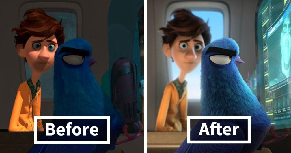 Lighting, before and after, in Blender