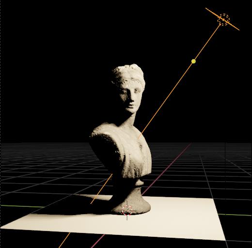 A single key light in a render