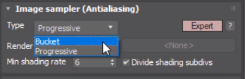Image sampler rendering types in V-Ray
