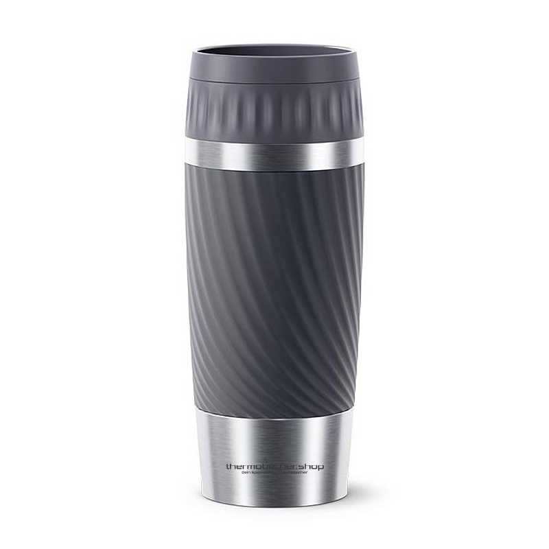 Emsa Travel Mug 360ml, Waves, Schwarz, mit Logo, Lasergravur, Druck