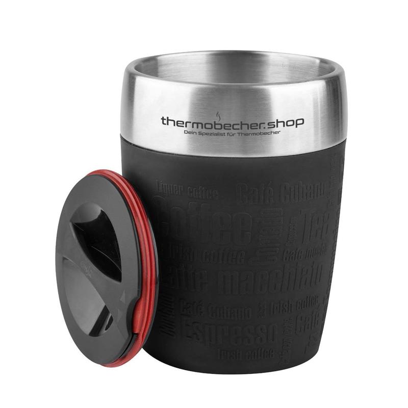Thermotasse Emsa Travel Cup, 200ml, schwarz mit Firmenlogo graviert