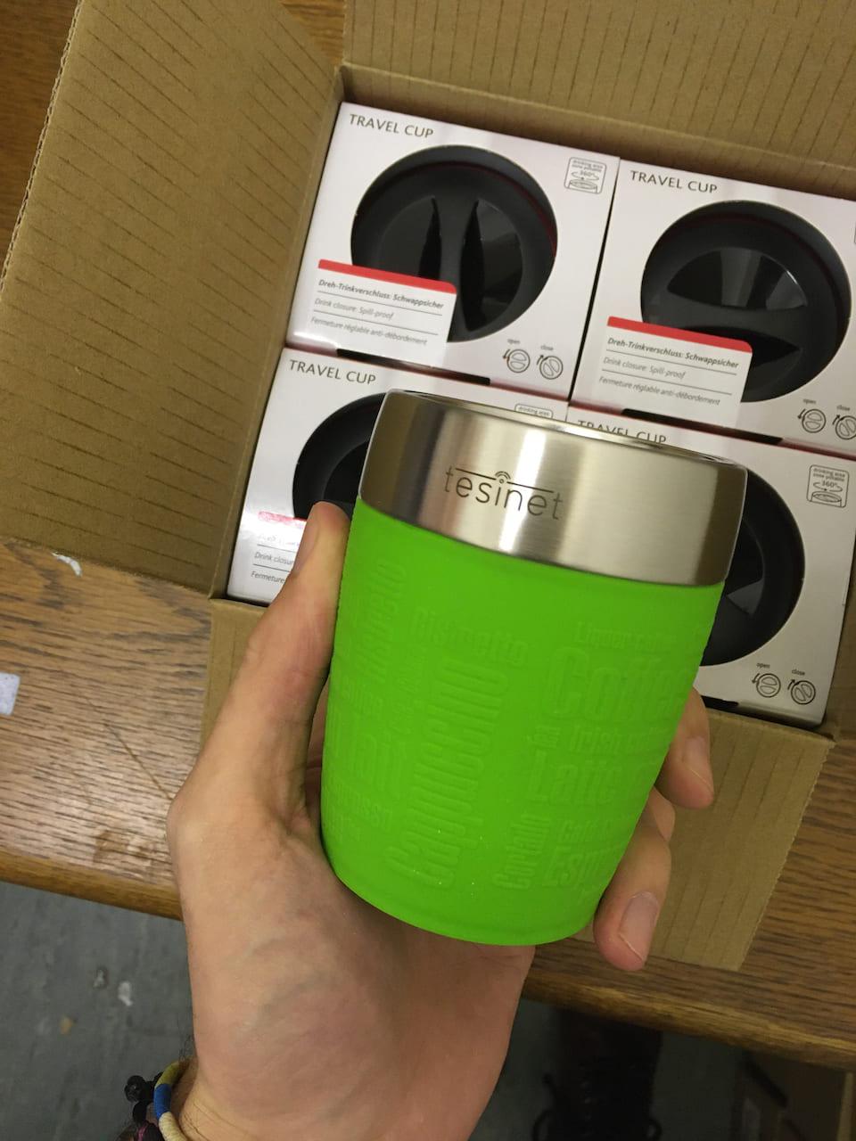 Thermotasse als Geschenk für Mitarbeiter und Kunden mit Logo Artikel Emsa Travel Cup Farbe Lime