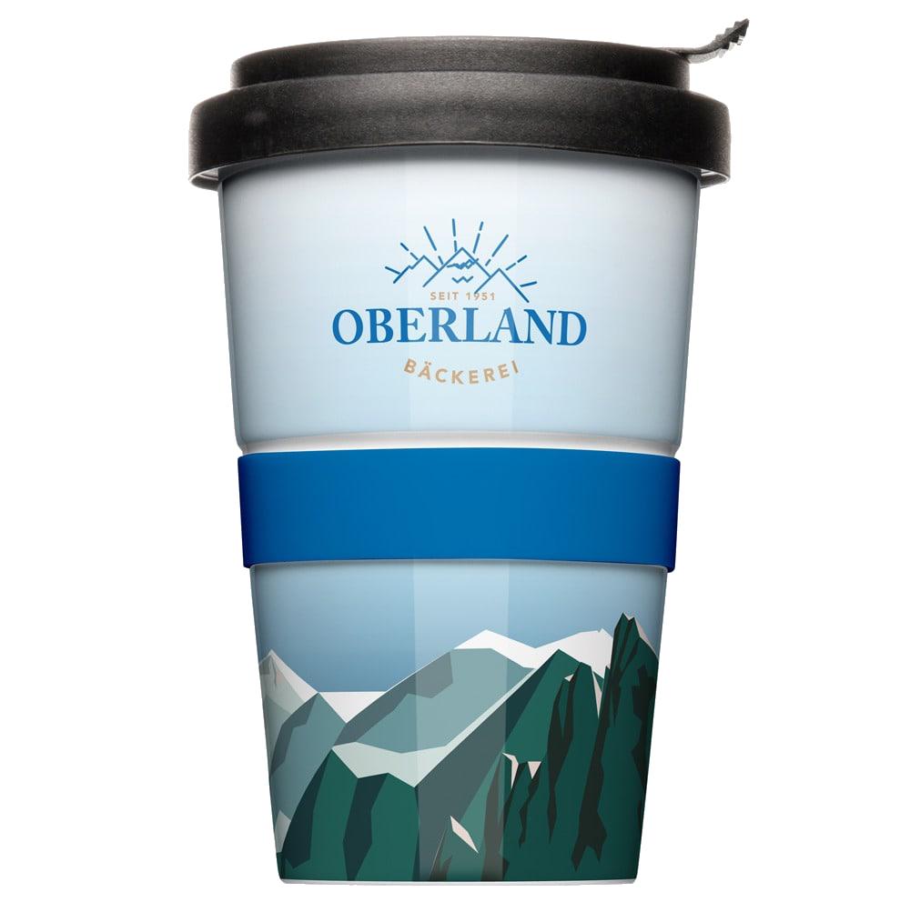 Coffee to go Becher mit individuellem Logodruck Firmenlogo Modell Mahlwerck Porzellan