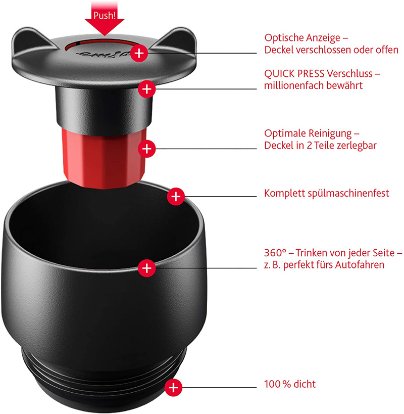 Deckel und Mechanik von Modell Emsa Travel Mug 360ml mit Druckknopf und Trinköffnung