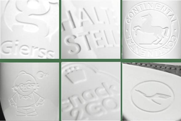 Firmenlogo Gravur Beispiele Coffee2Go Becher Logogravur auf Porzellan oder Keramik