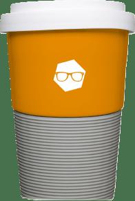 Hochwertiger Mehrweg Kaffeebecher bedruckt mit Firmenlogo