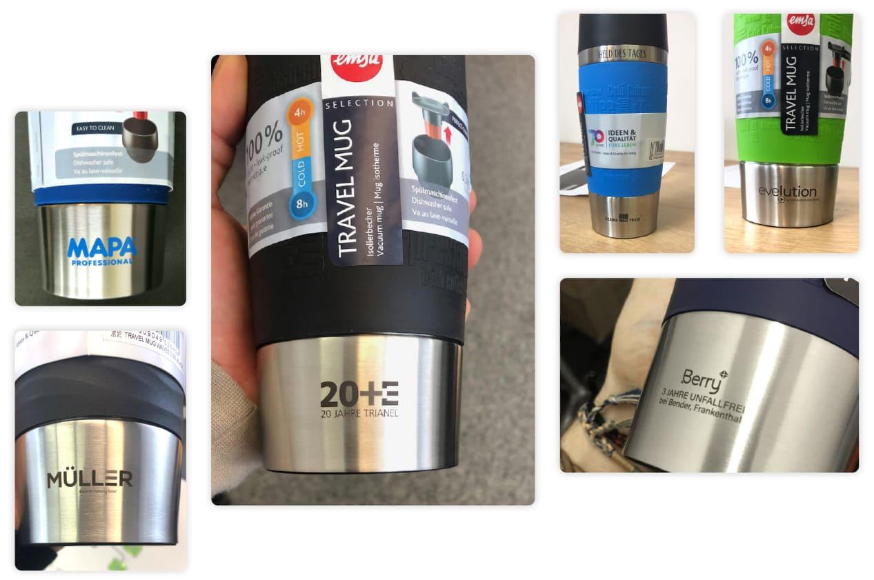 Emsa Travel Mug 360ml graviert oder bedruckt mit Branding Kunden Beispiele