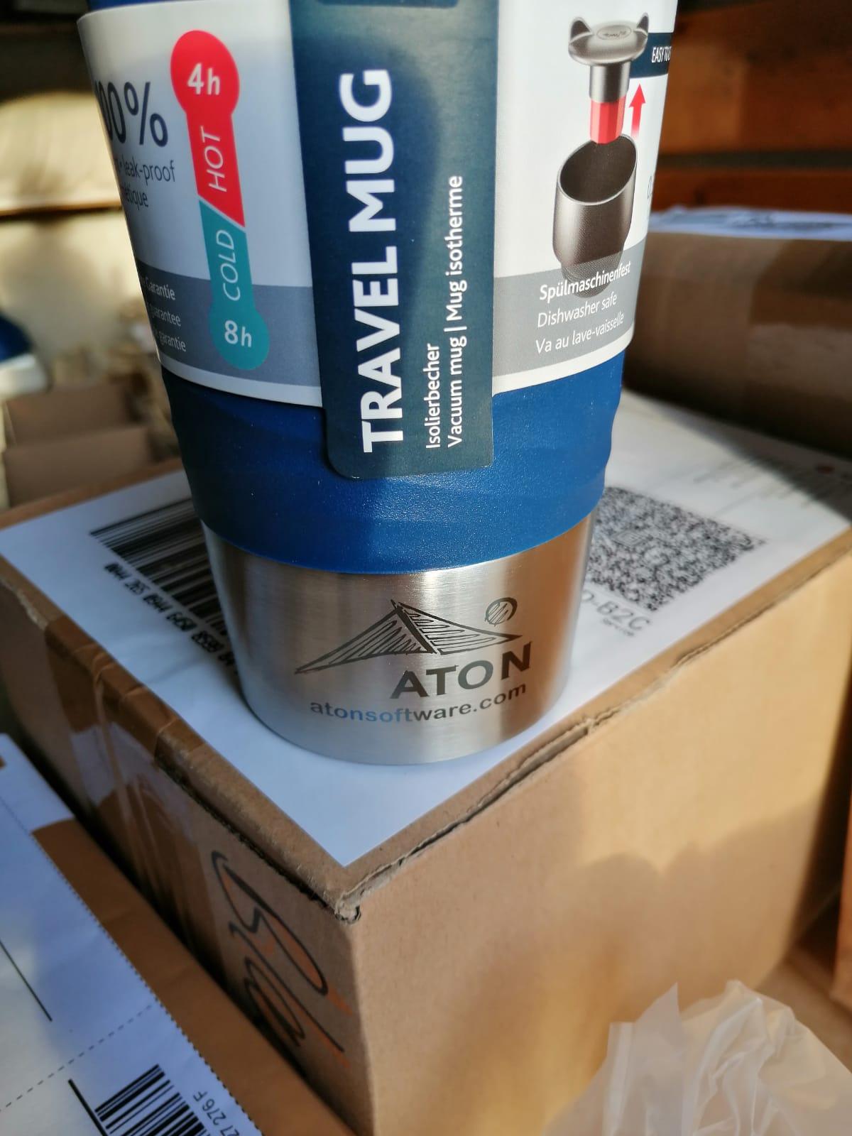 Thermobecher Travel Mug blau mit Kundenlogo graviert