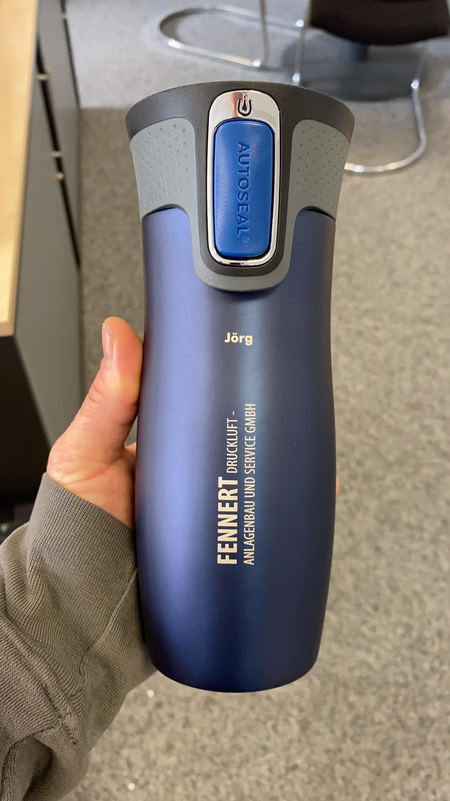 West Loop blau personalisiert mit Name und Firmenlogo als Geschenk für Mitarbeiter