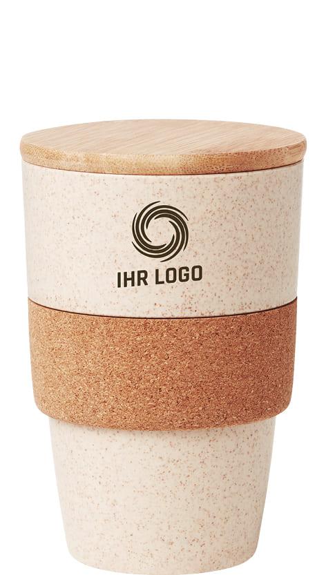 Nachhaltiger Kaffeebecher mit Logoaufdruck personalisiert oder graviert als Werbemittel