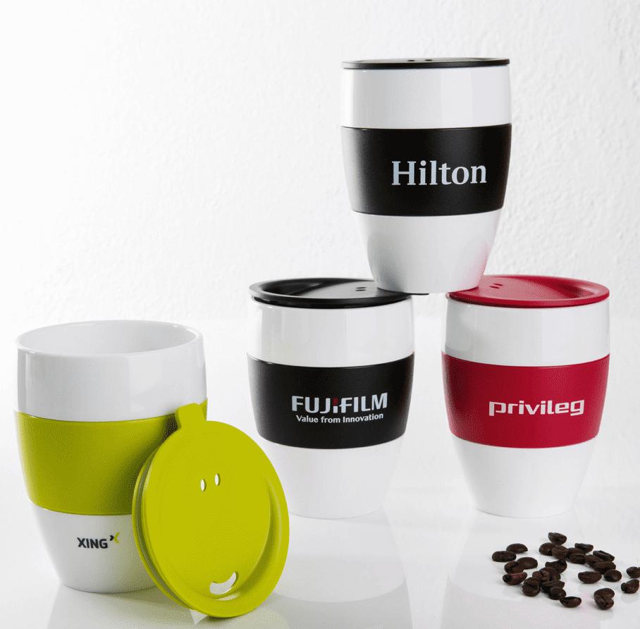 kleiner Mehrweg Kaffeebecher als Werbegeschenk mit Logodruck bedruckt