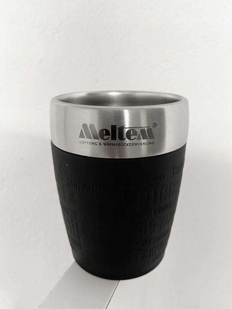 Emsa Travel Cup mit Logo graviert kleiner Thermobecher passt unter jede Kaffeemaschine