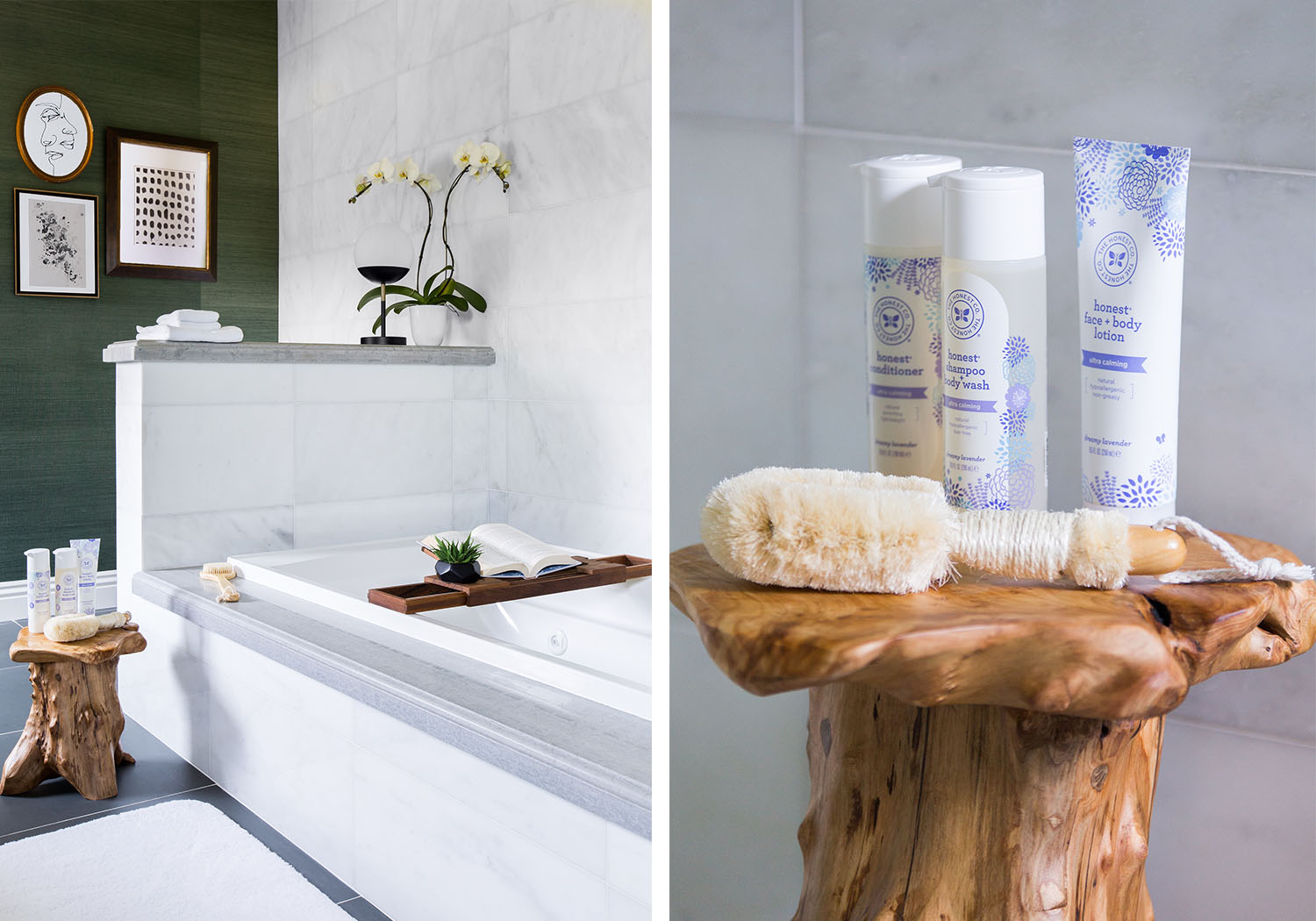 Marble walls breathe in elegance to this modern bathroom. A vintage, wooden stool and neutral artworks captured in a variety of frames add a hint of rustic charm.