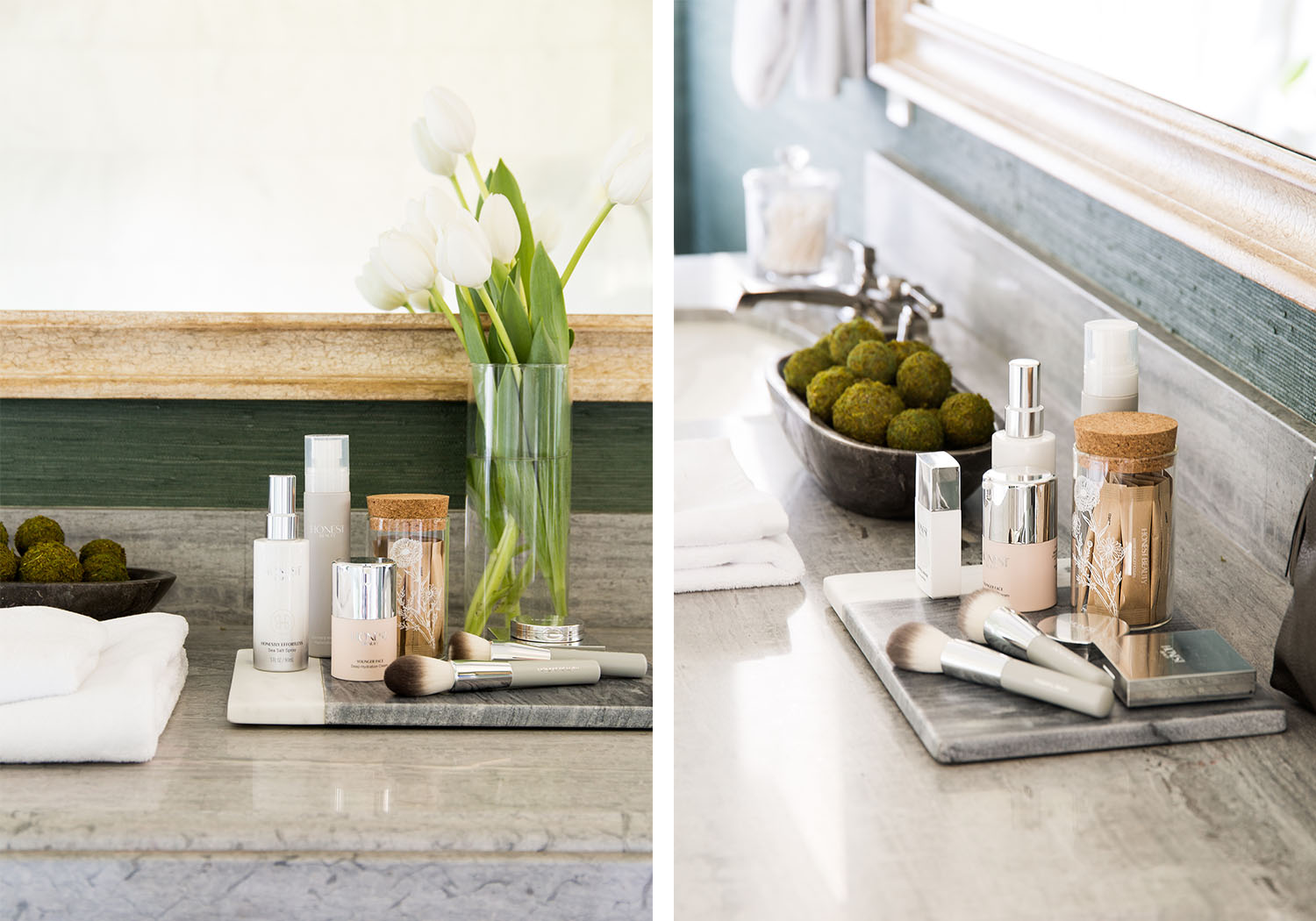 Placed on top of a marble bathroom vanity are fresh, white tulips and beauty essentials to deliver a luxe spa-like experience.