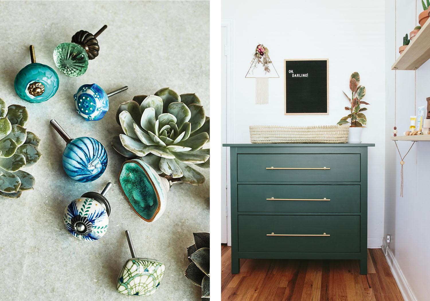 Sparkling blue ocean crater knobs and solid-colored drawers are absolute necessities in a home.