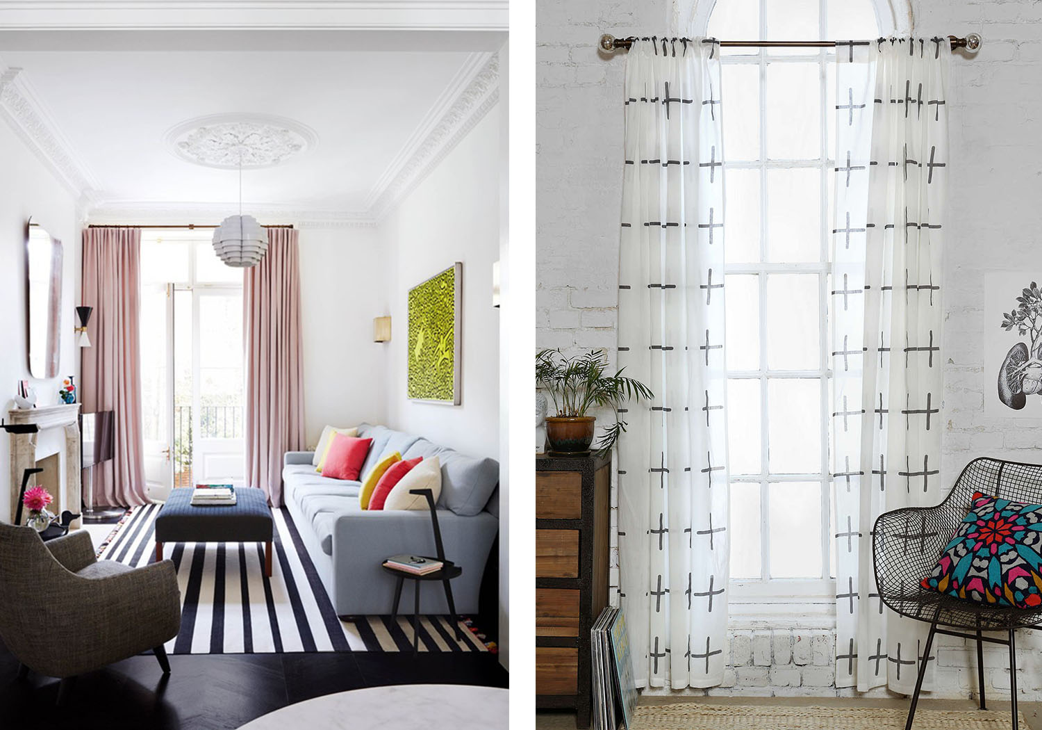 On the left, light pink curtains, vibrant cushions, and a striped rug add texture and style to the living room. On the right, the flowy white curtain is paired with a white brick wall.