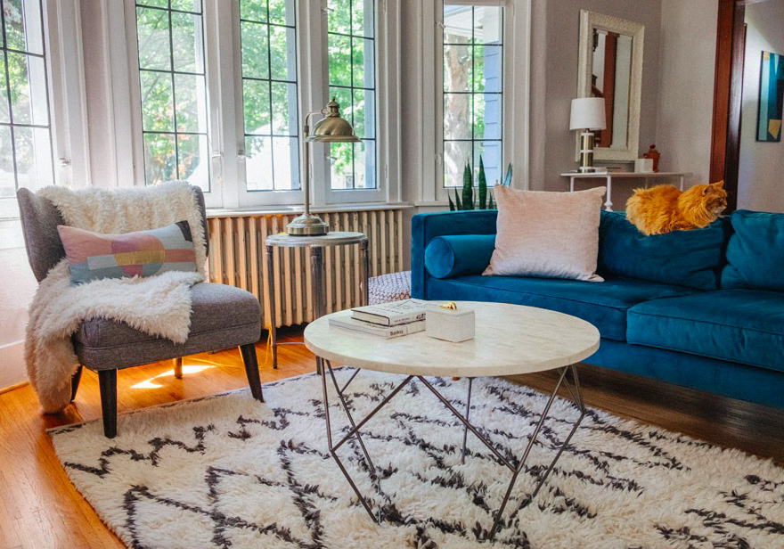 In this poised living room, a fluffy, large area rug complements the light hardwood floors and rich blue sofa.