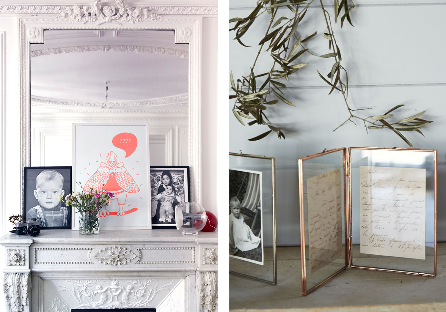 Colorful or black and white artworks and handwritten letters add a personal touch to a stark space.