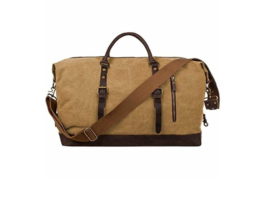 S-ZONE Oversized Canvas and Leather Weekender Bag