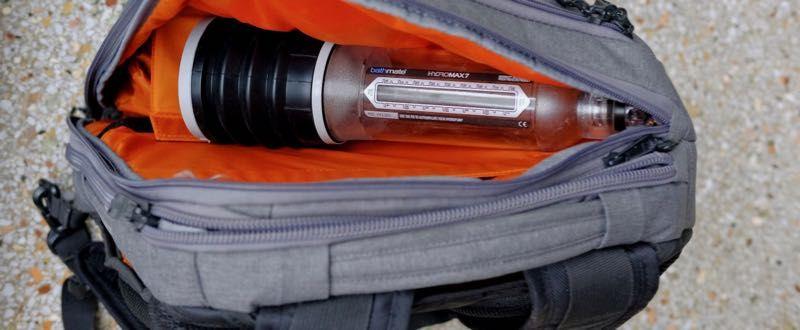 Bathmate penis pump fits in small men's backpack