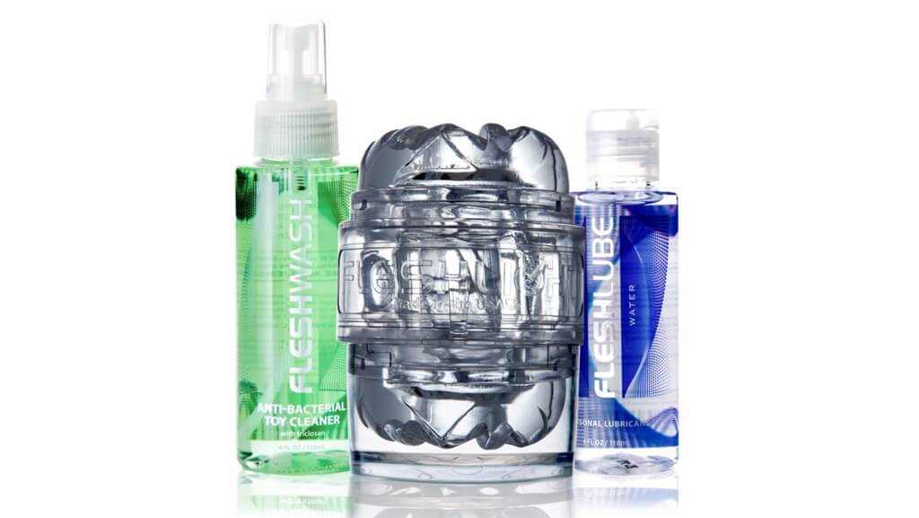Quickshot Vantage Sleeve, Clear case, Sleeve Caps, 4 oz Fleshlube Water, 4 oz Fleshwash Toy Cleaner