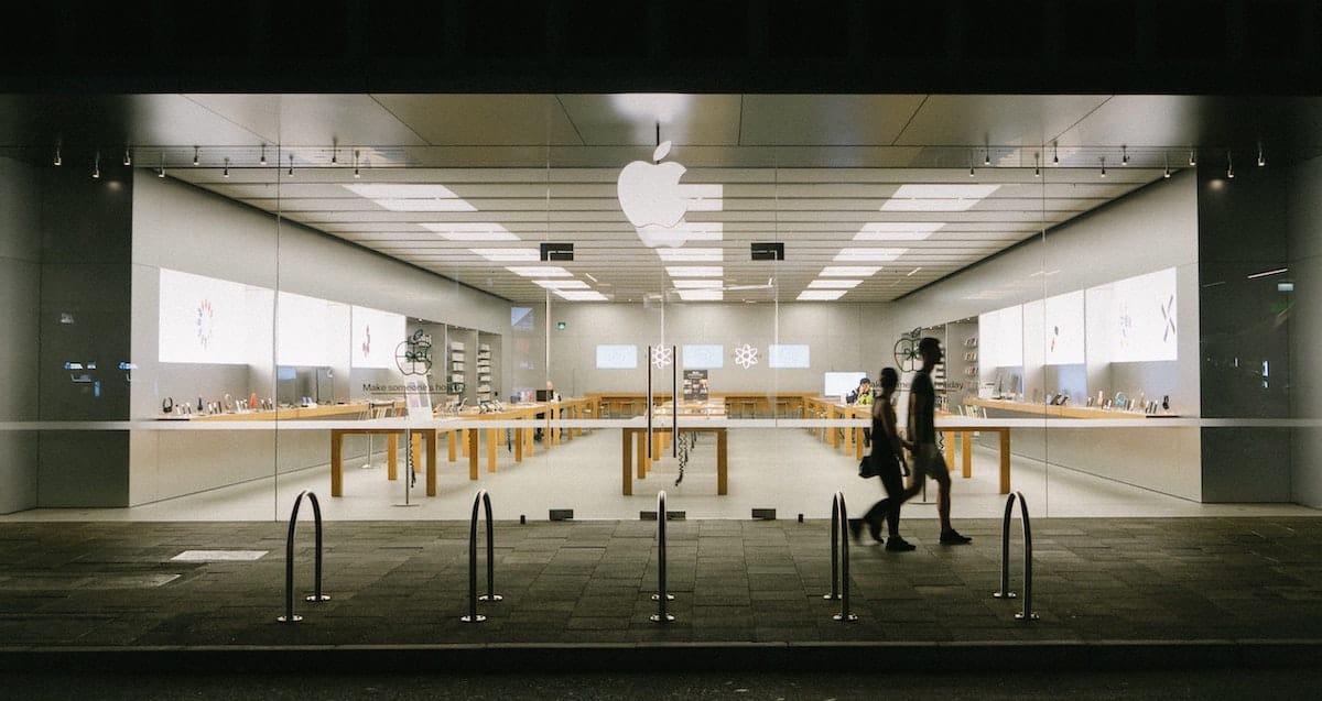 Apple store at night