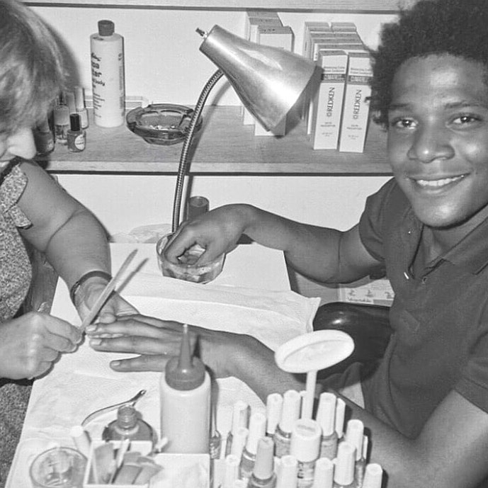 Jean-Michel Basquiat getting Manicure in New York. Photographed by Andy Warhol.