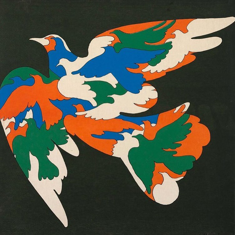 """Milton Glaser 1965 """"Birds"""" silkscreen. Composition of singular bird made up of various multicolored birds."""