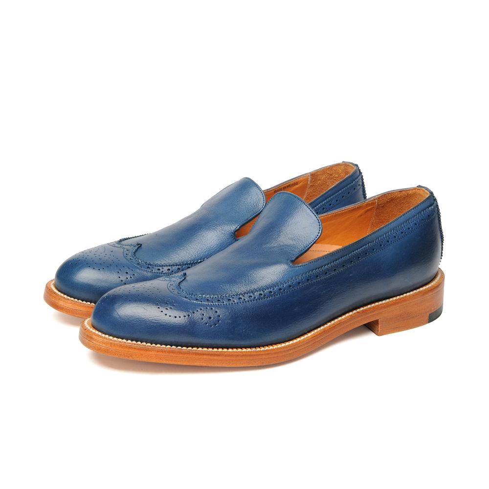 Yuketen Wingtip Slip On Blue weathered dress shoe